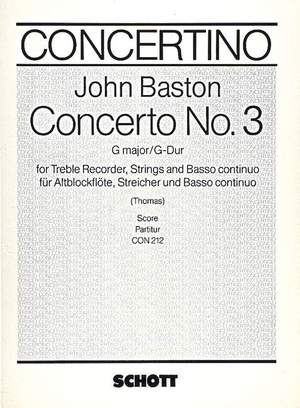 Baston, J: Concerto No. 3 G Major