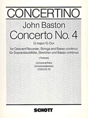 Baston, J: Concerto No. 4 G Major