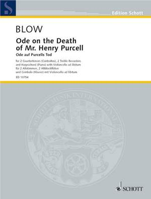 Blow, J: Ode on the Death of Mr. Henry Purcell