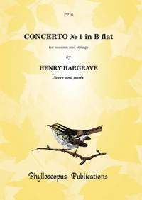 Hargrave: Concerto No. 1 in B flat for bsn and strings - score and parts