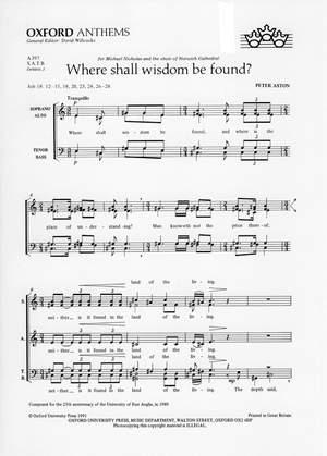 Aston: Where Shall Wisdom Be Found?