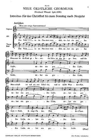 Wenzel: Das Volk, so im Finstern wandelt (Op.102)