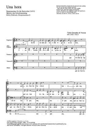 Gesualdo di Venosa: Una hora (dorisch)