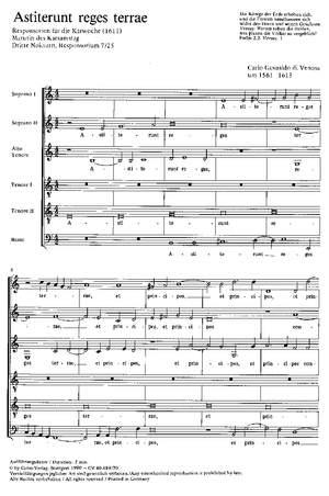 Gesualdo di Venosa: Astiterunt reges terrae (phrygisch)