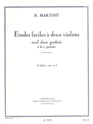 Bohuslav Martinu: Etudes Faciles A Deux Violins Vol.1
