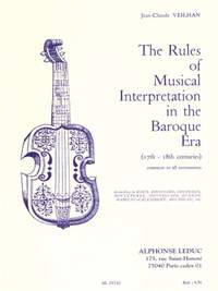 Jean-Claude Veilhan: The Rules Of Musical Interpretation In Baroque Era
