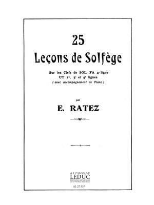 Emile Ratez: 25 Lecons De Solfege En 5 Cles
