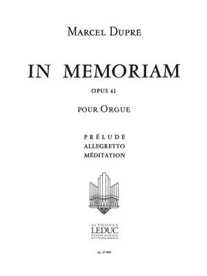 Marcel Dupré: In Memoriam Op.61 Volume 1 Product Image