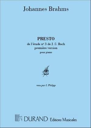 Brahms: Presto, d'après Bach - Sonate BWV1001 (2nd Version)