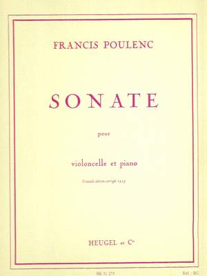 POULENC CELLO SONATA CELLO /& PIANO