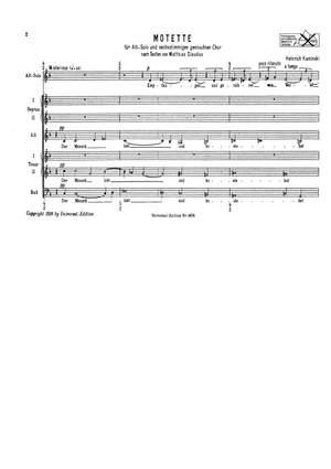 Kaminski, H: Kaminski Motette S Alto Vce Mix Vce Chor