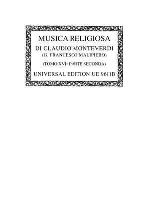Monteverdi:  Complete Works 16/2 Octsc 16/2