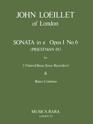 Loeillet of London: Sonate in e op. 1/6