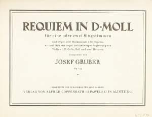 Gruber: Requiem in d-Moll (d-Moll)
