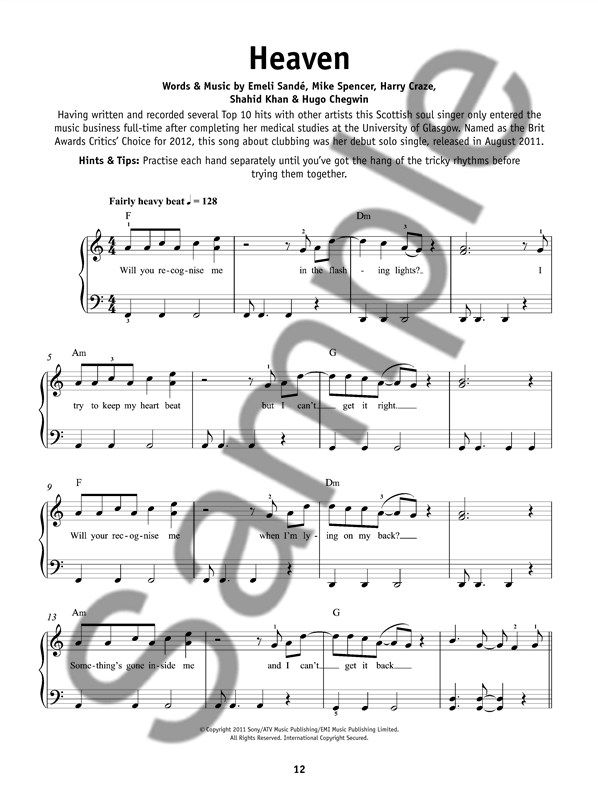 Really Easy Piano Big Chart Hits Presto Sheet Music