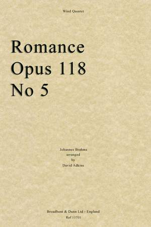 Brahms, Johannes: Romance, Opus 118 No. 5 Product Image