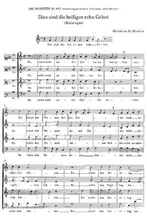 Maistre: Dies sind die heiligen zehn Gebot (C-Dur)