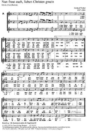 Trubel: Nun freut euch, lieben Christen (F-Dur)