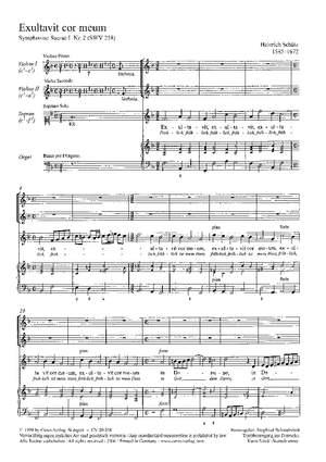 Schütz: Exultavit cor meum (Fröhlich ist mein Herz) (SWV 258 (op. 6 no. 2); F-Dur)