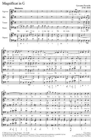 Paisiello: Magnificat in G (G-Dur)
