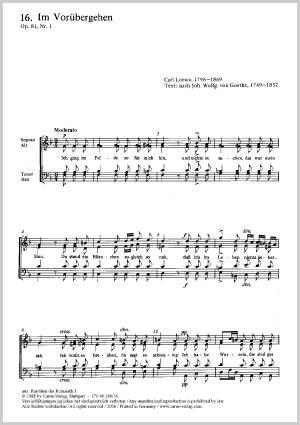 Loewe: Im Vorübergehen (Op.81 no. 1; F-Dur)