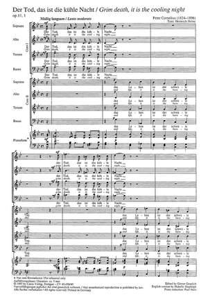 Cornelius: Der Tod, das ist die kühle Nacht (Op.11, Nr. 1; g-Moll)