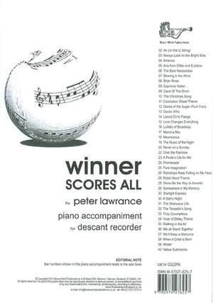 Winner Scores All Piano Accompaniment for Descant Recorder