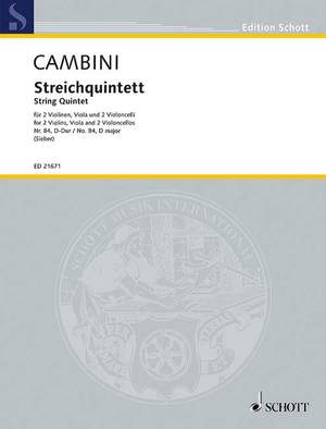 Cambini, G G: String Quintet No. 84 D major Product Image