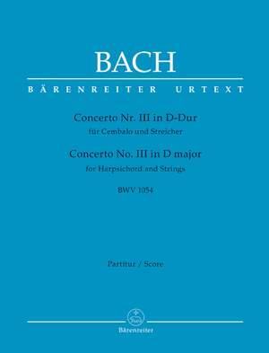 Bach, Johann Sebastian: Concerto for Harpsichord and Strings no. 3 D major BWV 1054