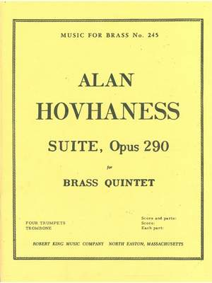 Alan Hovhaness: Suite For Brass Quintet Op.290 Product Image