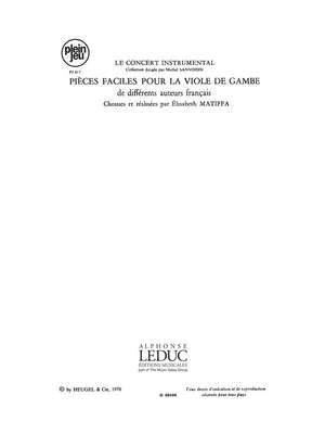 Marin Marais: Pieces Faciles Pour La Viole de Gambe