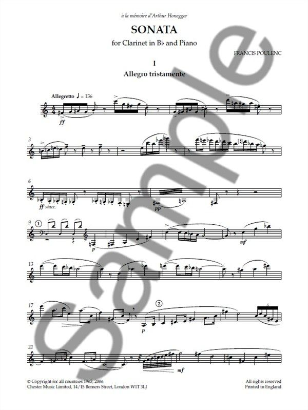 Francis Poulenc Sonata For Clarinet And Piano