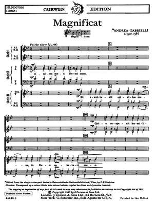Andrea Gabrieli: Magnificat For Three Choruses