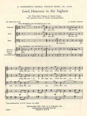 L. Stanley Glarum: Lord Hosanna In The Highest St