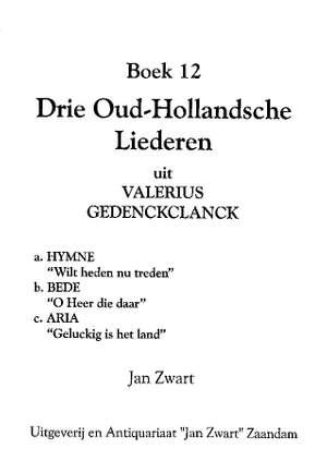 Jan Zwart: Boek 12 3 Oud Hollandse Liederen Product Image
