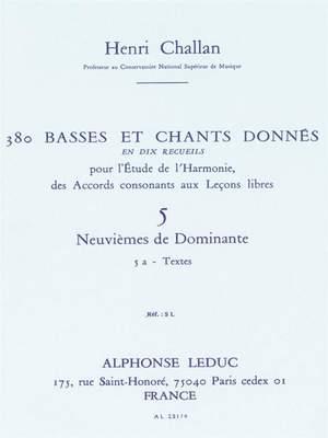 Henri Challan: 380 Basses et Chants Donnés Vol. 5A