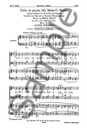 William Lloyd Webber: Unite To Praise Thy Maker's Name