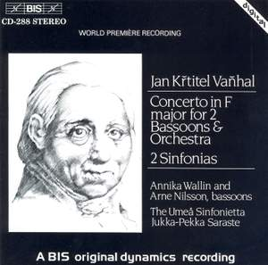 Vanhal: Concerto for two bassoons & Sinfonias in F major & A minor
