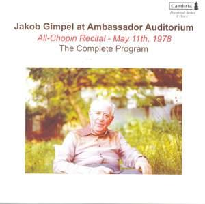 Jakob Gimpel at Ambassador Auditorium, 11th May 1978
