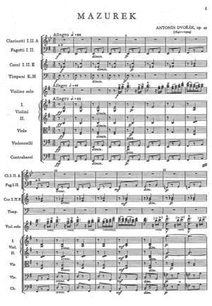 Dvorák, Antonín: Mazurka op.49 for violin and orchestra