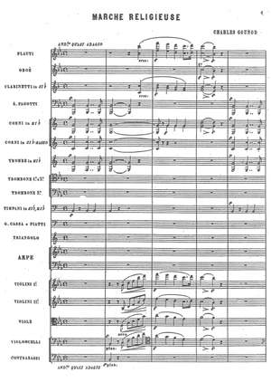 Gounod, Charles: Marche religieuse for full orchestra with principal harps in E-flat