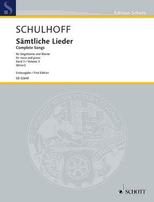 Schulhoff, E: Complete Songs III Band 3