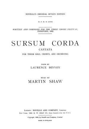 Martin Shaw: Martin Shaw: Sursum Corda