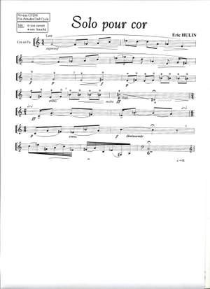 Eric Hulin: Solo Pour Cor