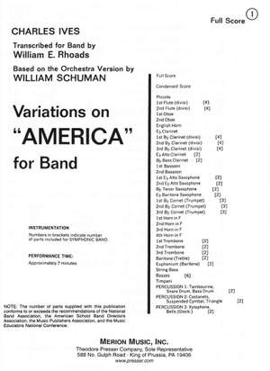 Charles E. Ives: Variations On 'America'-Full Score Product Image