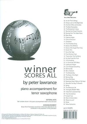 Winner Scores All Piano Accompaniment for Tenor Saxophone