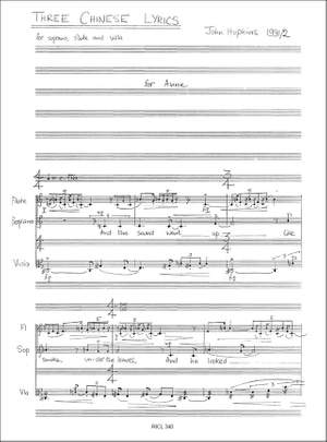 John Hopkins: Three Chinese Lyrics