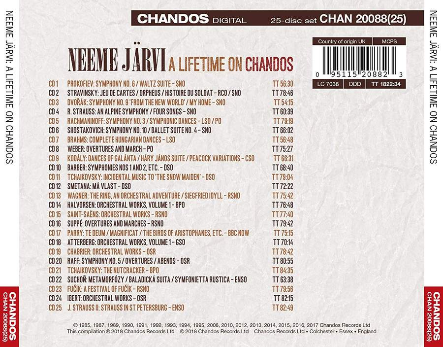 Neeme Järvi: A Lifetime on Chandos - Chandos: CHAN20088(25) - 25 CDs    Presto Classical