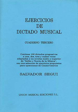 Salvador Segui: Ejercicios De Dictado Musical Volume 3
