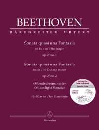 "Beethoven, Ludwig van: Sonata quasi una Fantasia for Pianoforte in E-flat major op. 27 no. 1 / Sonata quasi una Fantasia for Pianoforte in C-sharp minor op. 27 no. 2 ""Moonlight Sonata"""